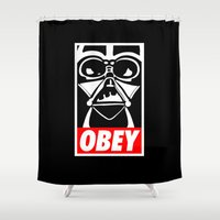 obey Shower Curtains featuring Obey Darth Vader - Star Wars by YiannisTees