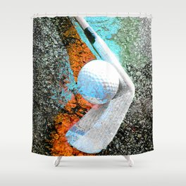 Golf art print work 14 Shower Curtain