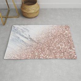 Blush Pink Sparkles on White and Gray Marble V Rug