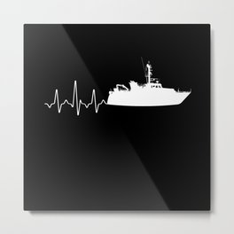 Heartbeat Coast Guard Metal Print