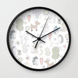 Hand Drawn Cute Animals Wall Clock
