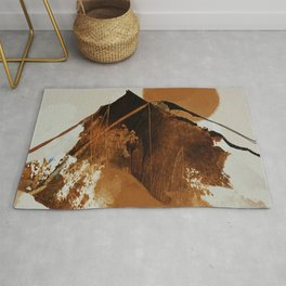 abstract mountains, rustic orange sunrise Rug