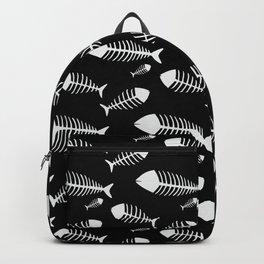 Black & White Fish Skeleton Pattern Design Big Backpack