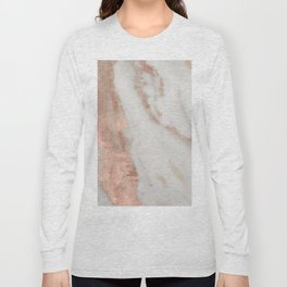 Marble Rose Gold Shimmery Marble Long Sleeve T-shirt