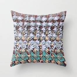 textured houndstooth in gray and teal Throw Pillow