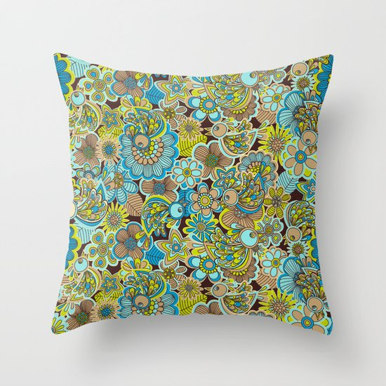 welcome birds to...(brown).  Throw Pillow