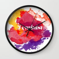 feminism Wall Clocks featuring Feminism Watercolor by Pia Spieler