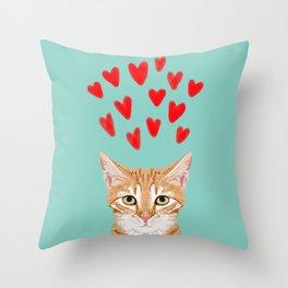 Mackenzie - Orange Tabby Cute Valentines Day Kitten Girly Retro Cat Art cell phone Throw Pillow