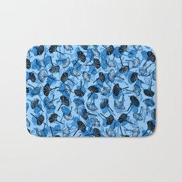 Ginkgo Biloba linocut pattern LIGHT BLUE Bath Mat