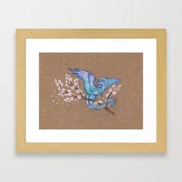 Azure sakura dragon Framed Art Print