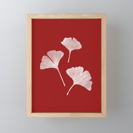 Ginkgo Biloba | Fiery Red Background Framed Mini Art Print