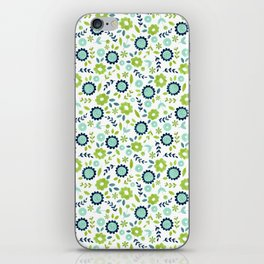 Green and blue flowers on white iPhone Skin