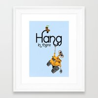 pixar Framed Art Prints featuring Pixar/Disney Wall-e Hang in There by Teacuppiranha
