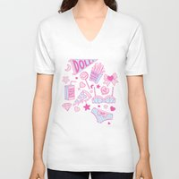 girl power V-neck T-shirts featuring Girl Power by Jade Boylan