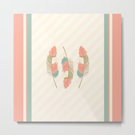 Coral and Mint Green Feathers and Stripes Metal Print