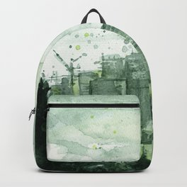 Seattle Skyline Watercolor Space Needle Emerald City 12th Man Art Backpack