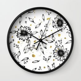 Daisies + Splatter Wall Clock