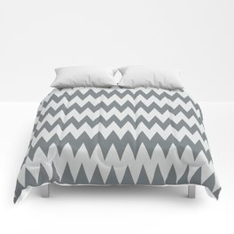 Night Watch Pewter Green and White Zigzag Pointed, Rippled Horizontal Line Pattern Comforters
