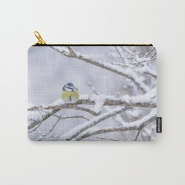 Blue Tit On A Snowy Branch Winter Scene #decor #society6 Carry-All Pouch
