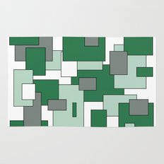 Squares - gray, green and white. Rug