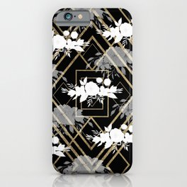 Geometrical faux gold black white floral pattern iPhone Case