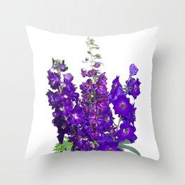 Rich blue-violet Delphinium Throw Pillow