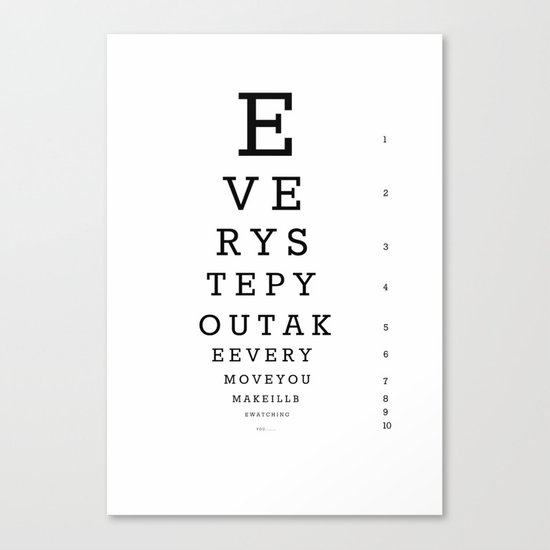 Eye Chart for Stalkers Canvas Print