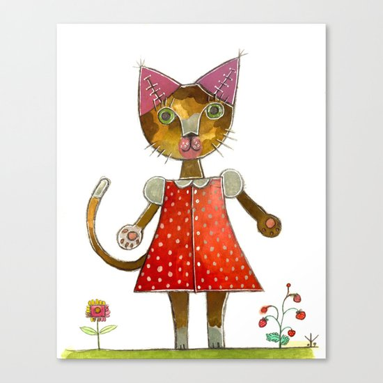 Strawberry Kitty Cat Canvas Print