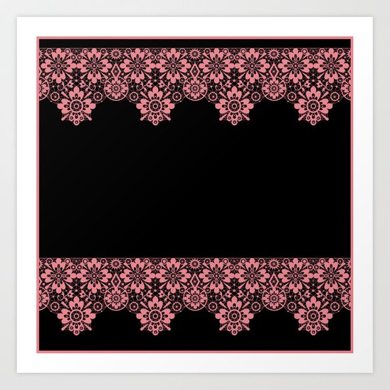 Retro .Vintage . Pink lace on a black background . Art Print