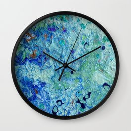 Blue Puddle Obstructing the Path of the Yellow Brick Road by annmariescreations Wall Clock