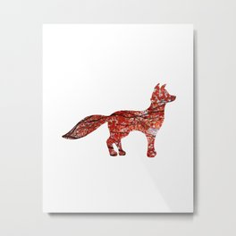red maple standing fox silhouette Metal Print