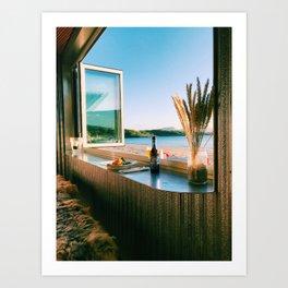 Beach Caravan Window Art Print