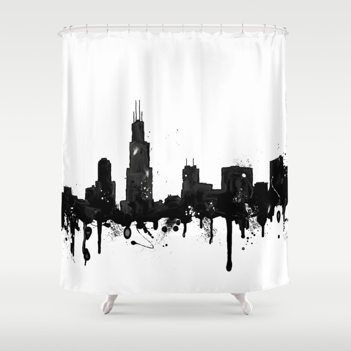 Watercolor Chicago Skyline Shower Curtain