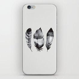Monochrome bohemian feather set black-white boho watercolor animal illustration boho home wall decor iPhone Skin