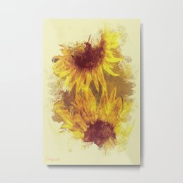 Peeping Sunflowers Metal Print
