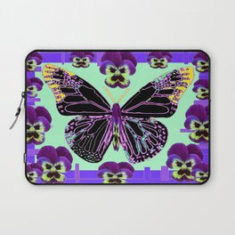 Black Butterfly Jade Green with Purple Violas Abstract Design Laptop Sleeve