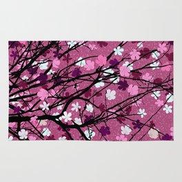 Pink floral tree print Rug