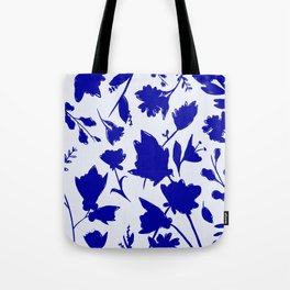 Floral Blue Shadow Tote Bag