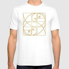 Golden Waves White Mens Fitted Tee SMALL