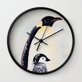 Maman et bébé manchot - mother and baby pinguin Wall Clock