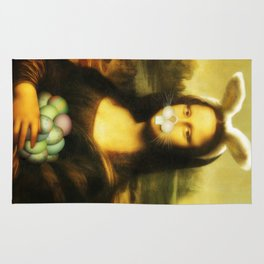 Easter Mona Lisa with Whiskers and Bunny Ears Rug