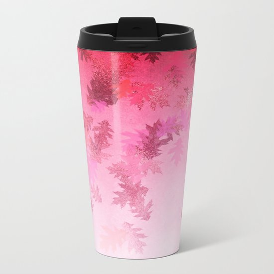Autumn-world 4 -  leaves on pink Metal Travel Mug
