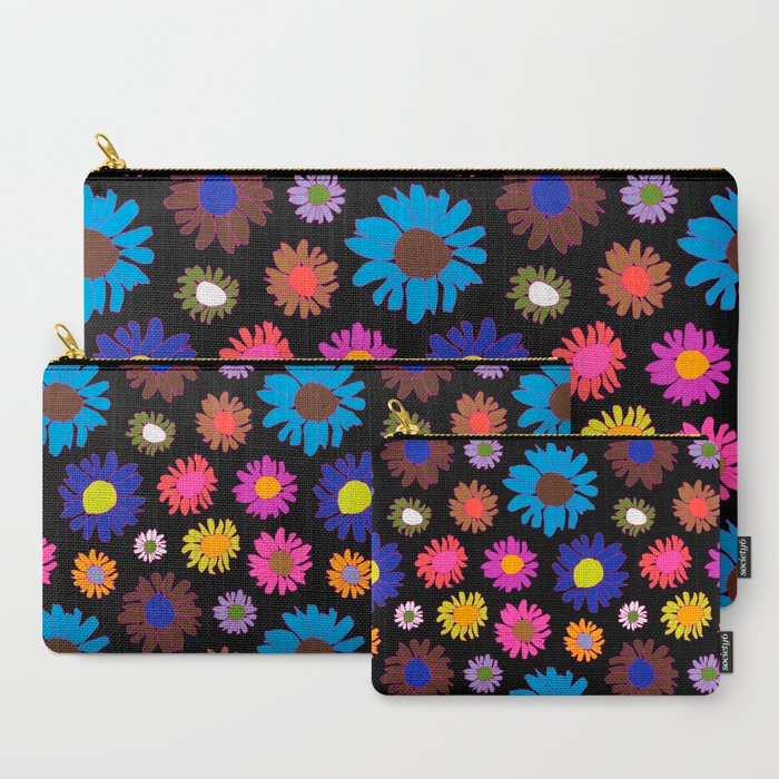60's Daisy Crazy in Black Carry-All Pouch
