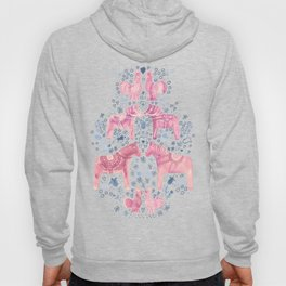 Swedish Dala Horse and Rooster Blue and Pink Pattern Hoody
