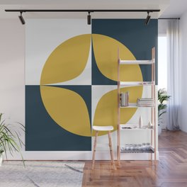 Atomic Age Neutra Midcentury Modern Quattro Pattern in Mustard, Navy Blue, and White Wall Mural