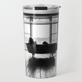 Relax in Black and White Travel Mug