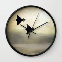 foo fighters Wall Clocks featuring Euro Fighters by Peaky40