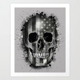 usa black and white skull Art Print