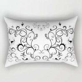 Abstract black floral ornament Rectangular Pillow