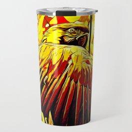 blue yellow breasted macaw parrot bird vector art ember Travel Mug